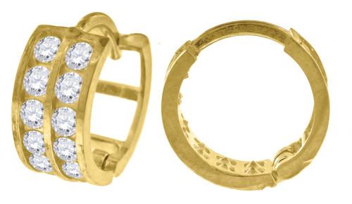"10K Yellow Gold Double Row CZ Hinged Hoop 0.42"" Fashion Earrings"