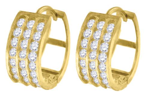 "10K Yellow Gold Triple Row CZ Hinged Hoop 0.60"" Fashion Earrings"