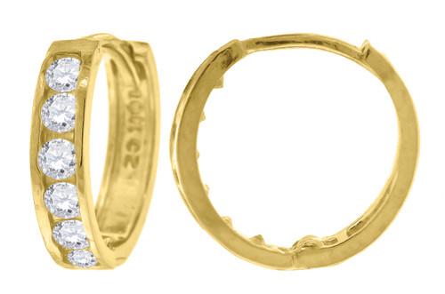 """10K Yellow Gold CZ Hinged Hoop 0.42"""" Earrings"""