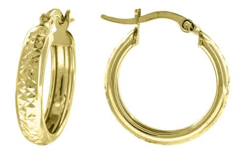 "10K Yellow Gold Diamond Cut Hinged Hoop 0.74"" Fashion Earrings"