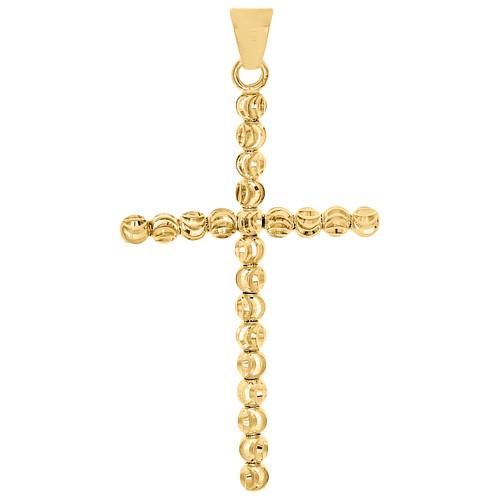 "Real 10K Yellow Gold 3mm Diamond Cut Cross Beaded Moon Cut Pendant Charm 1.90"""