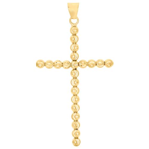 "Real 10K Yellow Gold 4mm Diamond Cut Cross Beaded Moon Cut Pendant Charm 2.50"""