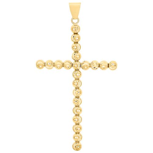 "Genuine 10K Yellow Gold 5mm Diamond Cut Cross Beaded Moon Cut Pendant Charm 3"""
