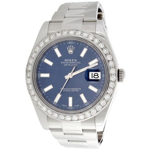Mens 41mm Rolex DateJust II Diamond Watch Ref. # 116300 Blue Stick Dial 2.50 CT.