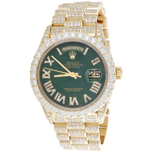 18K Gold 36mm Rolex President Day-Date 18038 Diamond Watch Green Dial 15.11 CT.