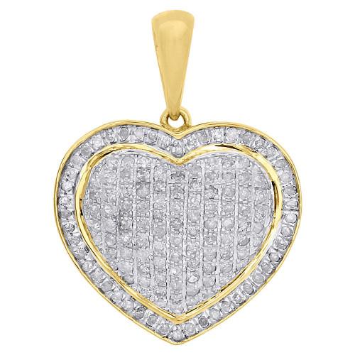 10K Yellow Gold Ladies Round Diamond Pave Puff Dome Heart Pendant Charm 0.58 CT.