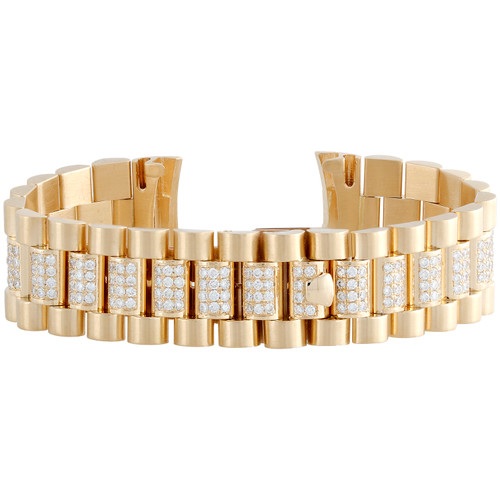 Mens 18K Yellow Gold Diamond Watch Band for Rolex Day-Date President 4.52 CT.