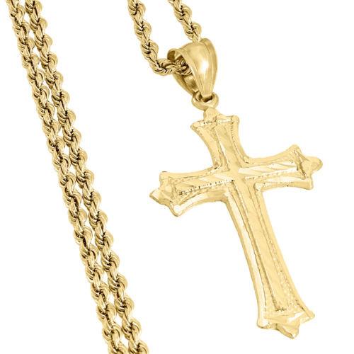 "Real 10K Yellow Gold Diamond Cut Cross Charm Pendant + 2mm Hollow Rope Chain 22"""