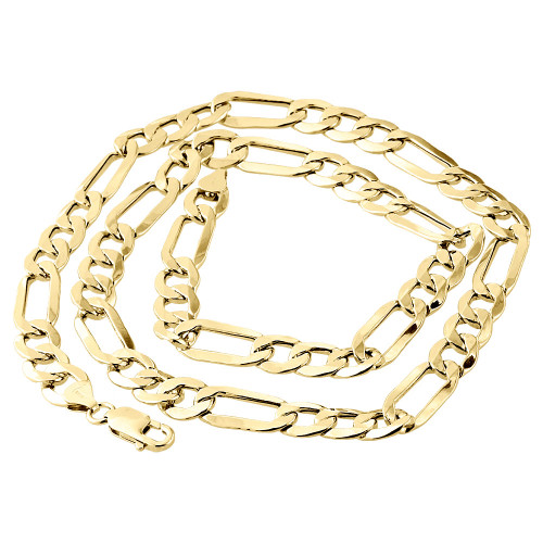 Real 10K Yellow Gold Solid Figaro Chain 9.50mm Necklace Lobster Clasp 22-30 Inch