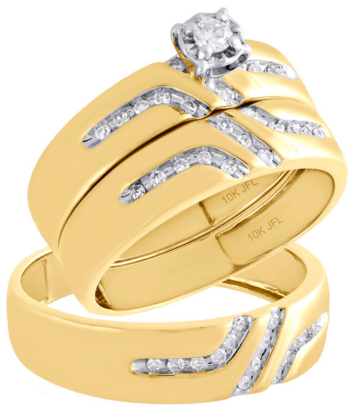 10K Yellow Gold Solitaire Diamond Trio Set Engagement Ring + Wedding Band 1/4 Ct