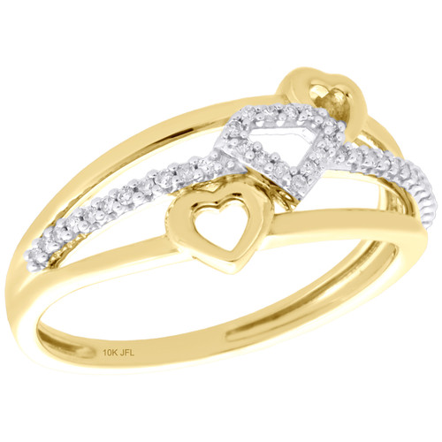 10K Yellow Gold Ladies Diamond Triple Heart Right Hand Cocktail Ring 1/10 Ct.