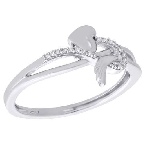 .925 Sterling Silver Diamond Angel Wing Swirled Heart Cocktail Ring 1/20 Ct.