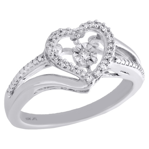10K White Gold Dancing Diamond Love Heart Right Hand Cocktail Ring 1/10 Ct.