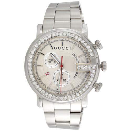 Mens Custom Diamond Gucci Ya101339 G-Watch White Dial Chronograph 44mm | 1.75 CT.