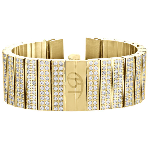 10 Rows Cubic Zirconia CZ Watch Band Fits Only 24mm Lugs Yellow Steel Joe Rodeo