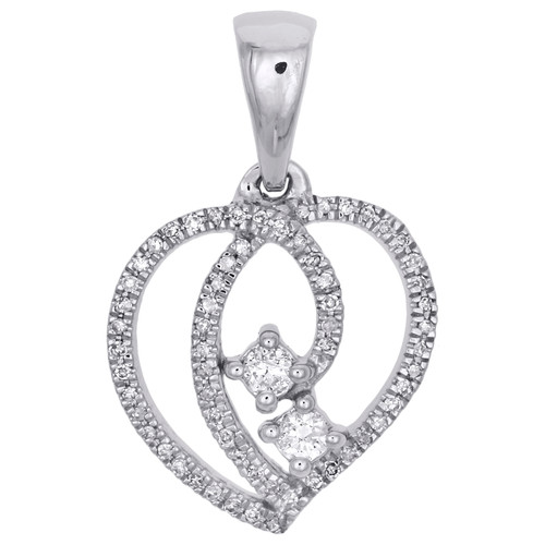 10K White Gold Diamond Intertwine Two Stone Hearts Together Pendant Charm 1/6 CT