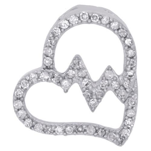 """10K White Gold Diamond Tilted Heart Pendant 0.50"""" Heartbeat Slide Charm 1/6 CT."""