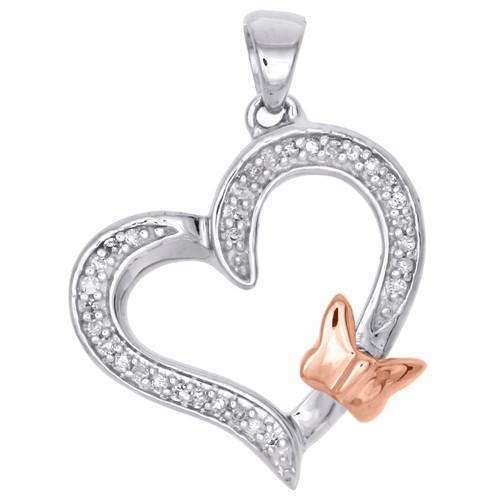 """10K White Gold Diamond Tilted Heart Rose Butterfly Pendant 0.9"""" Charm 1/10 CT."""