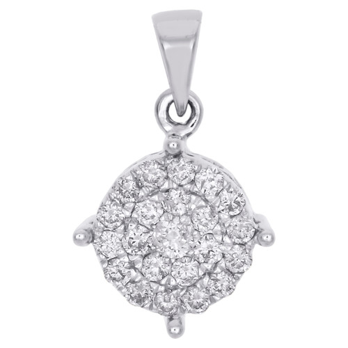 "10K White Gold Genuine Round Diamond 4 Prong Cluster Pendant 0.70"" Charm 1/2 CT."