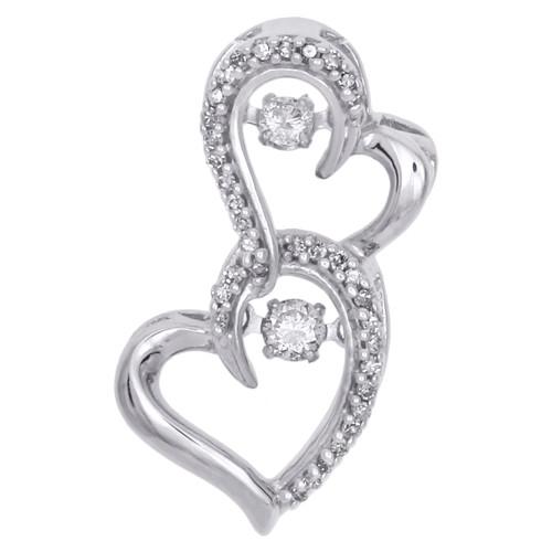 "10K White Gold Dancing Diamond Double Heart Frame Pendant 0.85"" Charm 1/4 CT."