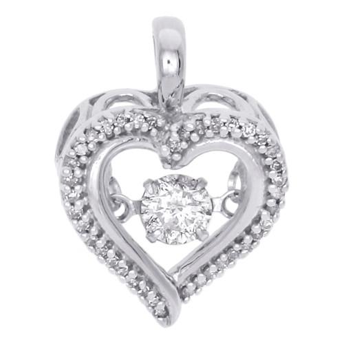 "10K White Gold Real Round Dancing Diamond Heart Frame Pendant 0.65"" Charm 1/4 CT"