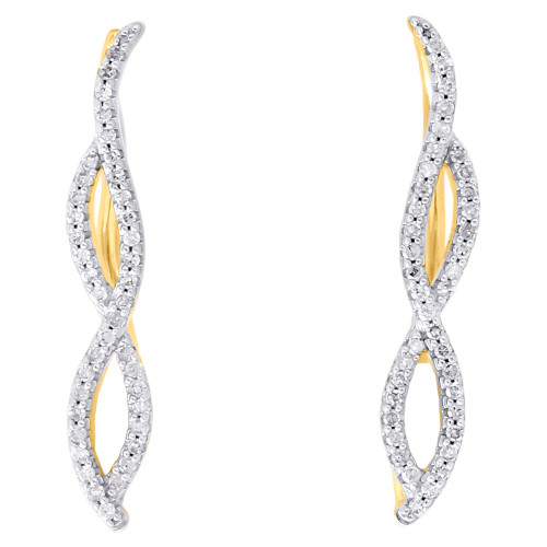 10K Yellow Gold Round Diamond Infinity Frame Ear Climber Earrings 1"