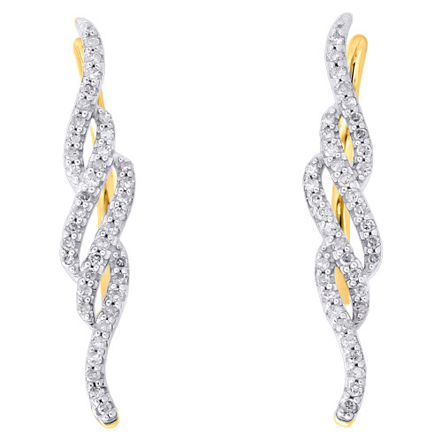 10K Yellow Gold Round Diamond Vertical Twist Ear Climber Earrings 1"