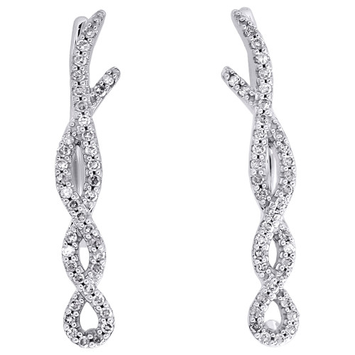 10K White Gold Round Diamond Infinity Twist Ear Climber Earrings 0.95"