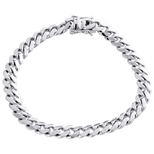 """Mens Real 10K White Gold 8mm Solid Miami Cuban Link Fancy Bracelet Box Clasp 9"""""""