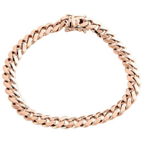 "Mens Real 10K Rose Gold 8mm Solid Miami Cuban Link Fancy Bracelet Box Clasp 9"""