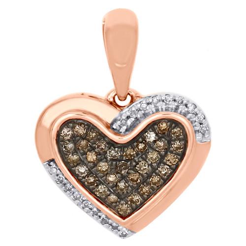 "10K Rose Gold White & Brown Diamond Double Frame Heart Pendant 0.6"" Charm 1/7 CT"