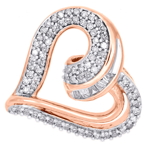 "10K Rose Gold Baguette Diamond Heart Slide Pendant 0.65"" Statement Charm 1/4 CT."