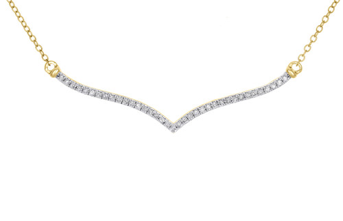 """10K Yellow Gold Diamond Contoured Bar Pendant Necklace 20"""" Cable Chain 1/4 CT."""