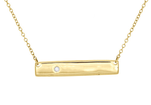 """10K Yellow Gold Round Diamond Rectangle Bar Necklace 19"""" Cable Chain 0.02 CT."""