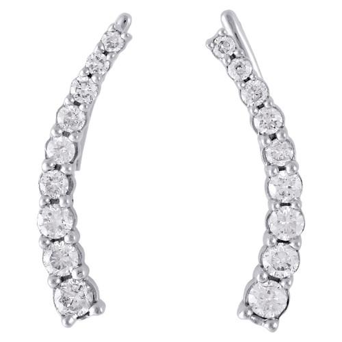 "10K White Gold Graduated Diamond Prong Set Earrings 0.75"" Ear Climbers 1/2 CT."