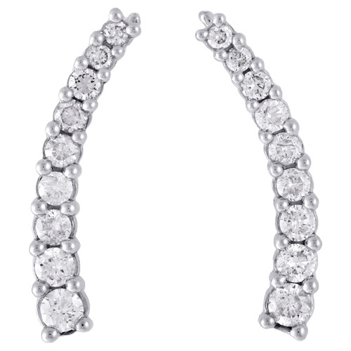 "Real 10K White Gold Graduated Diamond Prong Set Earrings 0.95"" Ear Climbers 1 CT"