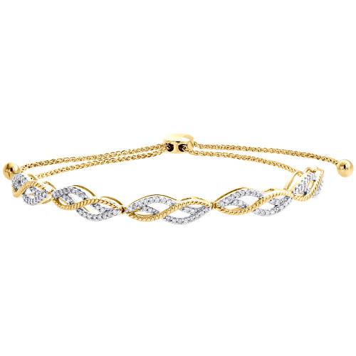 "10K Yellow Gold Real Diamond Braided Milgrain Fancy Bolo Bracelet 11"" | 1/2 CT."
