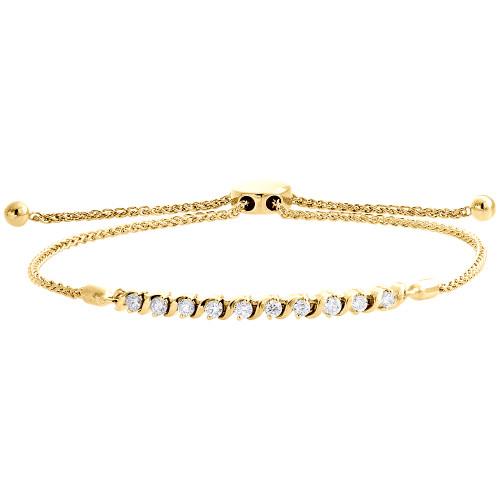 "10K Yellow Gold Real Diamond 1 Row S-Link Bolo Bracelet Prong Set 10.5"" | 1/2 CT"