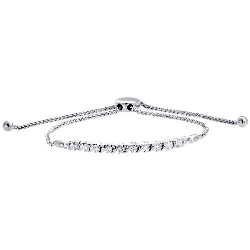 "10K White Gold Real Diamond 1 Row S-Link Bolo Bracelet Prong Set 10.5"" | 1/2 CT."