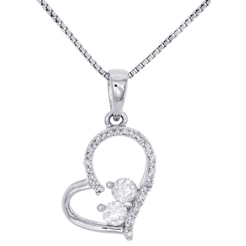 10K White Gold Solitaire Two Stone Diamond Heart Pendant Cut Out Necklace 1/5 CT