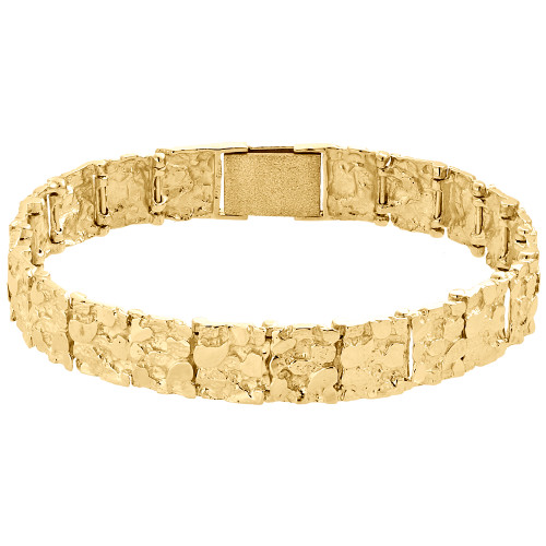 Mens Real 10K Yellow Gold Solid Nugget Ore Style Fancy Link Bracelet 11mm | 8.5""