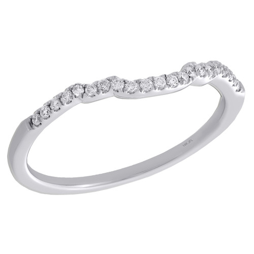 14K White Gold Round Diamond Contour Enhancer Ring Ladies Wedding Band 1/10 Ct.