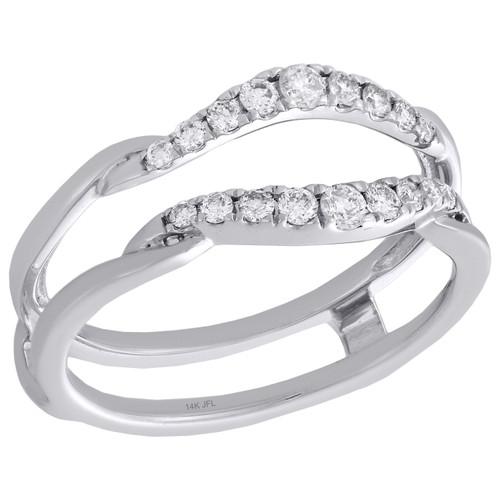 14K White Gold Round Diamond Contour Enhancer Wrap Jacket Wedding Ring 0.33 Ct.