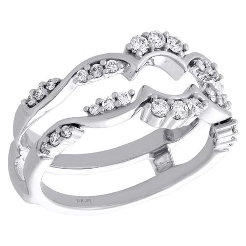 14K White Gold Diamond Contour Enhancer Wrap Jacket Scatter Design Ring 0.33 Ct.