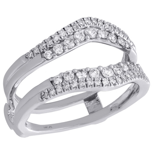 14K White Gold Diamond Contour 2 Row Enhancer Wrap Jacket Wedding Ring 0.50 Ct.