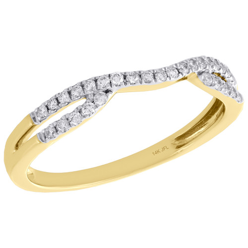 14K Yellow Gold Round Diamond Contour Enhancer Ring Ladies Wedding Band 0.17 Ct.