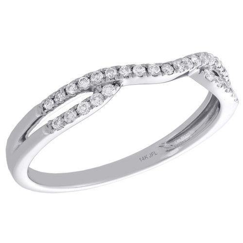 14K White Gold Round Diamond Contour Enhancer Ring Ladies Wedding Band 0.17 Ct.