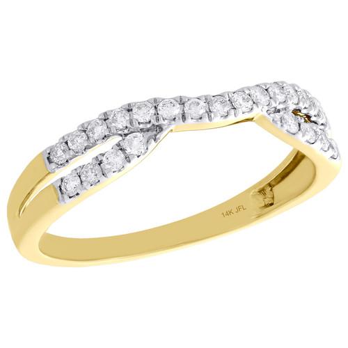14K Yellow Gold Round Diamond Contour Enhancer Ring Ladies Wedding Band 0.25 Ct.