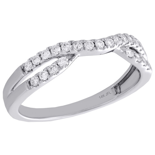 14K White Gold Round Diamond Contour Enhancer Ring Ladies Wedding Band 0.25 Ct.