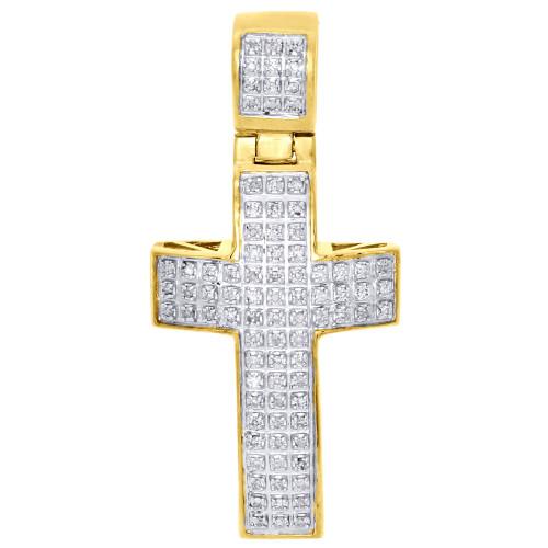 "10K Yellow Gold Genuine Diamond Mini Cross Domed Pendant 1.50"" Charm 0.25 Ct."
